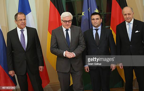 Russian Foreign Minister Sergey Lavrov, German Foreign Minister Frank-Walter Steinmeier, Ukrainian Foreign Minister Pavlo Klimkin and French Foreign...