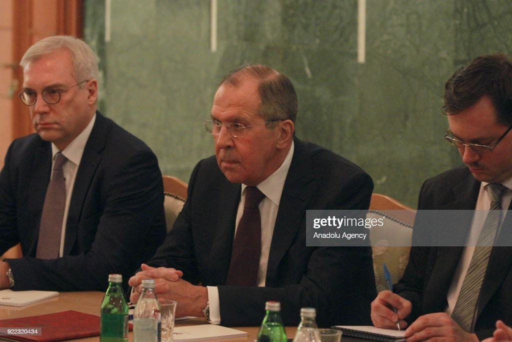 Russian Foreign Minister Sergey Lavrov (C) holds a meeting with Serbian President Aleksandar Vucic (not seen) in Belgrade, Serbia on February 21, 2018.