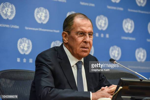 Russian Foreign Minister Sergey Lavrov holds a press briefing at the United Nations during the United Nations General Assembly on September 28 2018...