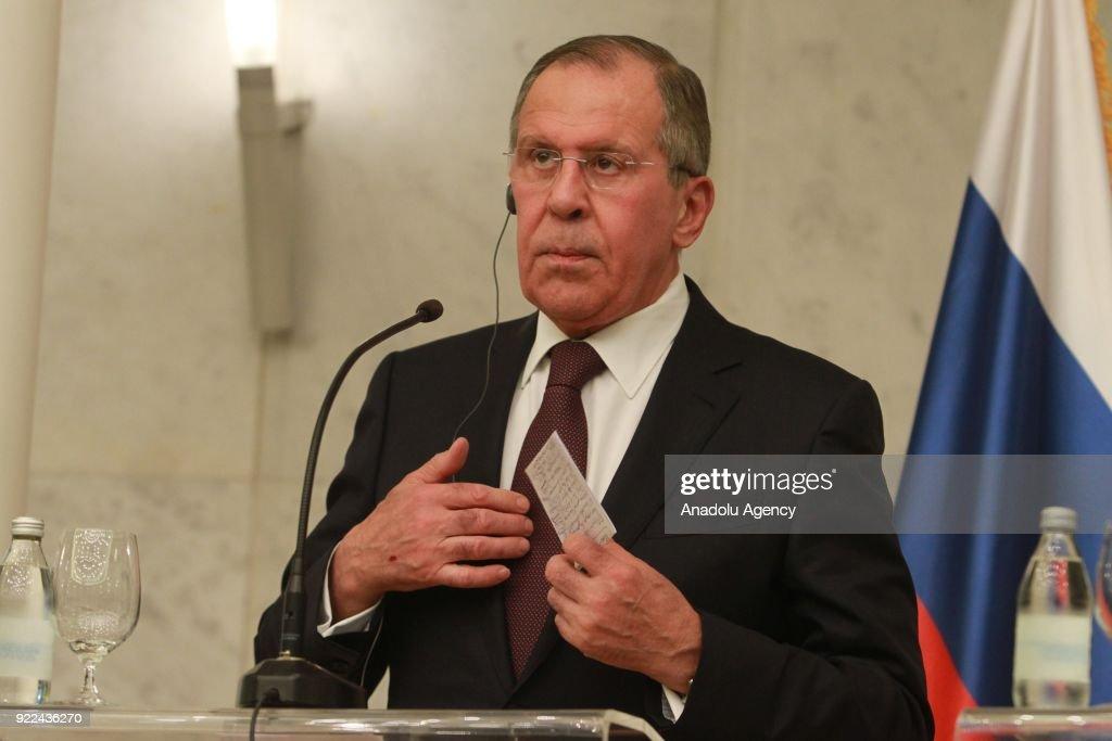 Sergey Lavrov - Aleksandar Vucic joint press conference in Belgrade : ニュース写真