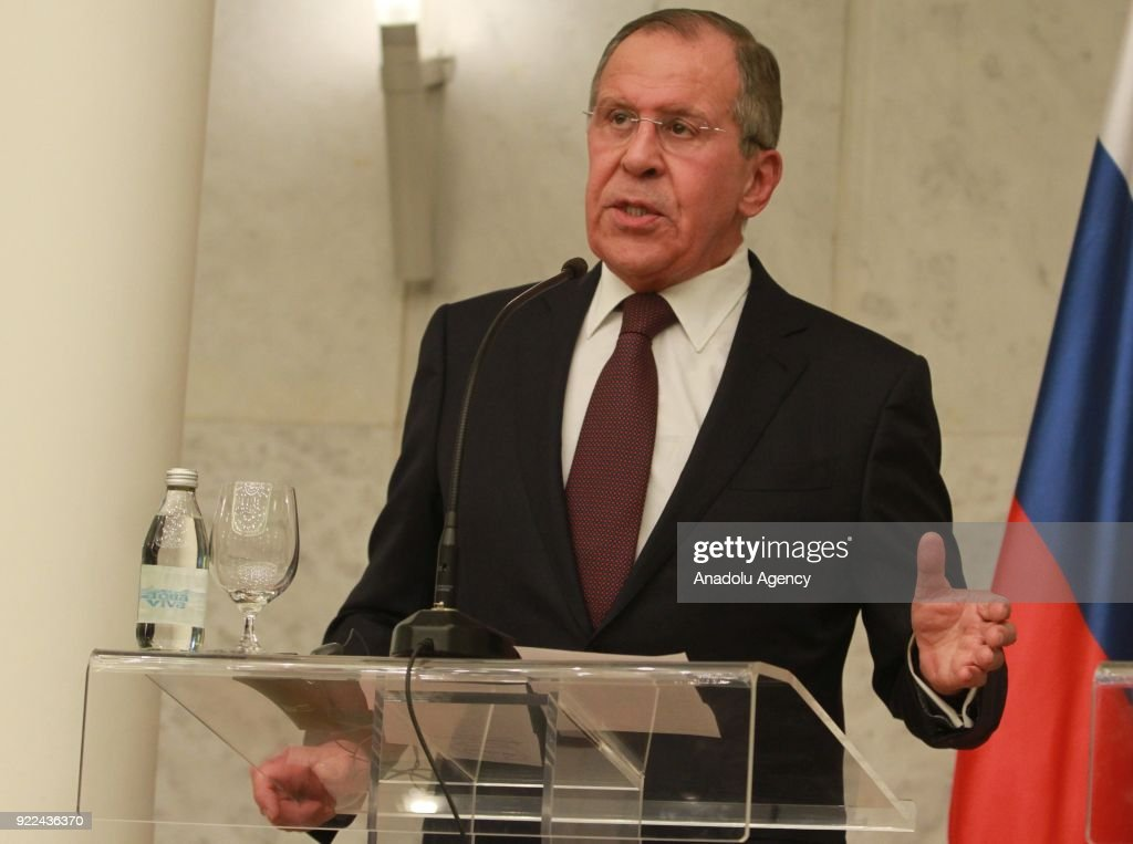 Russian Foreign Minister Sergey Lavrov makes a speech during a joint press conference with Serbian President Aleksandar Vucic (not seen) following their meeting in Belgrade, Serbia on February 21, 2018.