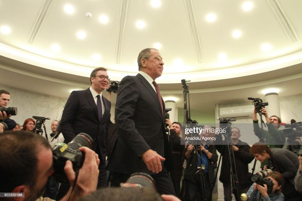 Russian Foreign Minister Sergey Lavrov (front) meets with Serbian President Aleksandar Vucic (L) as part of his official visits in Belgrade, Serbia on February 21, 2018.