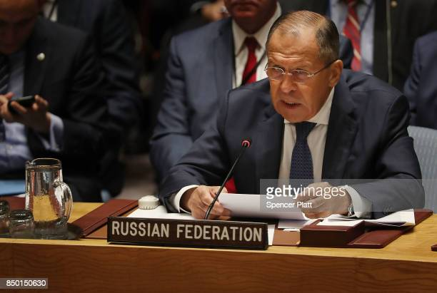 Russian Foreign Minister Sergey Lavrov speaks at a Security Council meeting during the 72nd United Nations General Assembly at UN headquarters on...