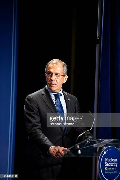 Russian Foreign Minister Sergey Lavrov speaks before signing a plutonium disposition protocol with Secretary of State Hillary Clinton at the Nuclear...