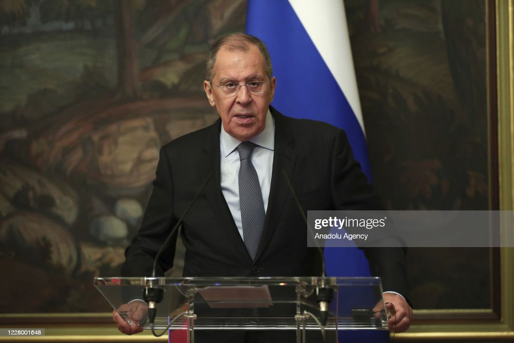 Russian FM Sergey Lavrov - German FM Heiko Maas in Russia : News Photo