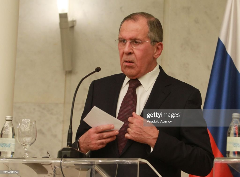 Russian Foreign Minister Sergey Lavrov speaks during a joint press conference with Serbian President Aleksandar Vucic (not seen) following their meeting in Belgrade, Serbia on February 21, 2018.