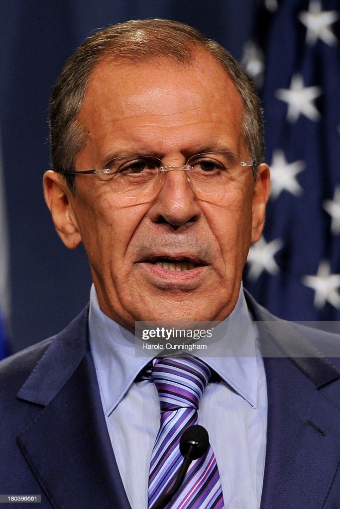 Russian Foreign Minister Sergey Lavrov speaks during a press conference with US Secretary of State John Kerry at the Hotel Intercontinental on September 12, 2013 in Geneva, Switzerland. The leaders met to discuss chemical weapons in Syria in working towards assisting a U.N. Security Council resolution.