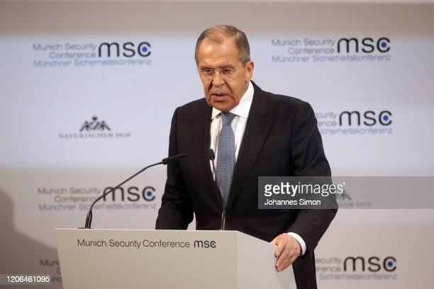 Russian Forerign Minister Sergey Lavrov delivers a speech at the 2020 Munich Security Conference on February 15, 2020 in Munich, Germany. The annual...