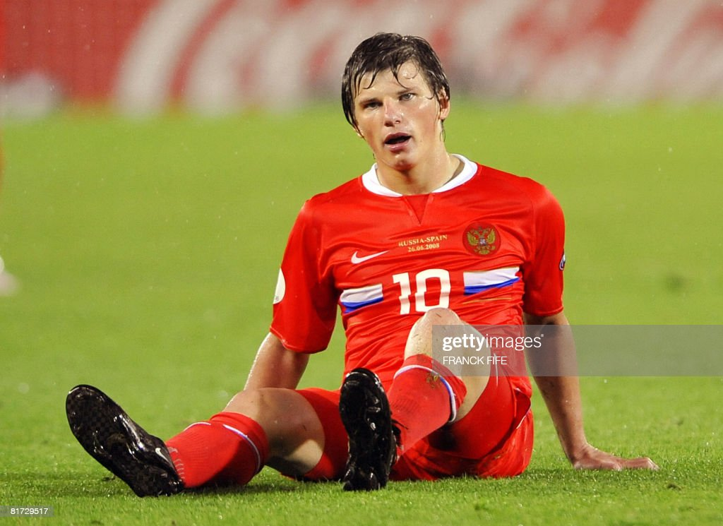 Russian forward Andrei Arshavin reacts on the pitch at the end of the Euro 2008 championships semi-final football match Russia vs. Spain on June 26, 2008 at Ernst-Happel stadium in Vienna, Austria. Spain one of the pre-tournament title favourites ensured they made their first final for 24 years when they demolished Russia 3-0 here on Thursday in their Euro 2008 semi-final.