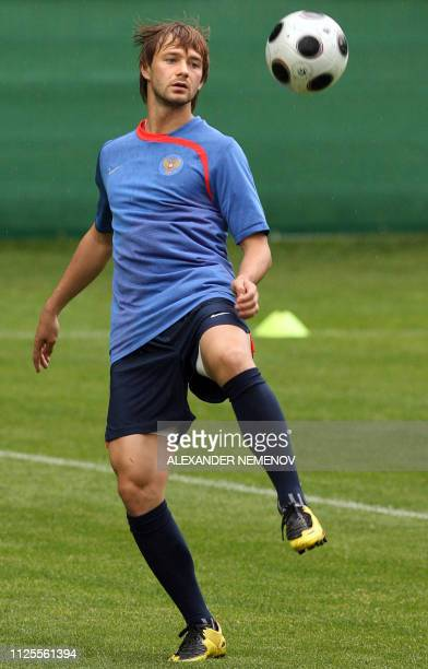Russian forward Dmitry Sychev controls a ball during a training session in Leogang on June 11 2008 The Russian team is in group D of the Euro 2008...