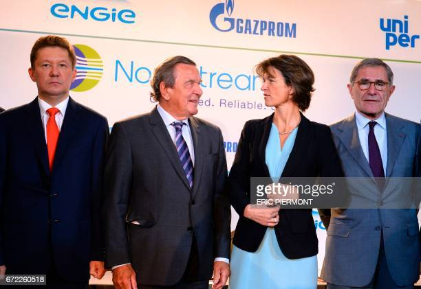 Russian gas giant Gazprom's Chief Executive Officer Alexei Miller Head of the supervisory board of Gazprom's Nord Stream 2 and former German...