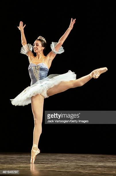Russian Georgian ballerina Nina Ananiashvili dances the pas de deux from 'Sylvia' during a performance with the American Ballet Theatre at City...