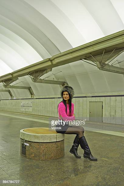 Russian girl at the metro station