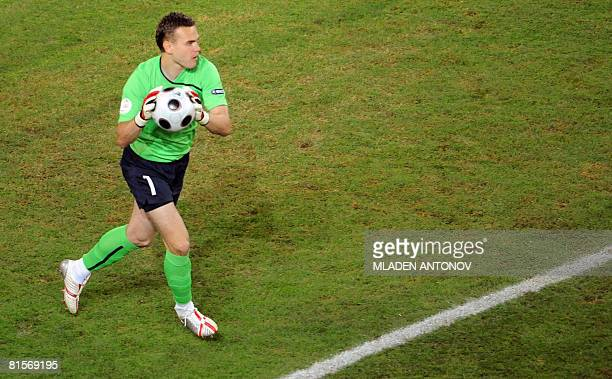 Russian goalkeeper Igor Akinfeev holds the ball during the Euro 2008 Championships group D football match Greece vs Russia on June 14 2008 at the...