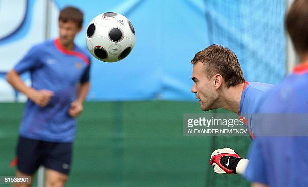 Russian goalkeeper Igor Akinfeev is pictured during a Russian natonal team training session in Leogang Austria on June 12 2008 The Russian team lost...