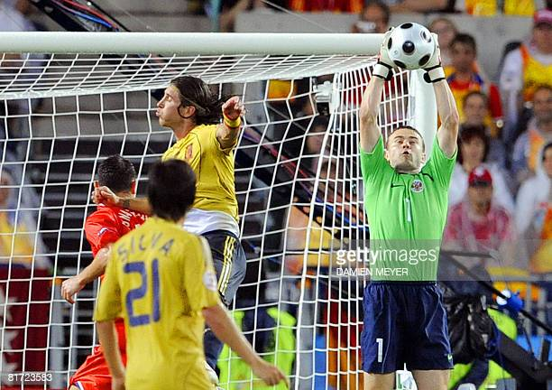 Russian goalkeeper Igor Akinfeev saves a shot on goal during the Euro 2008 championships semifinal football match Russia vs Spain on June 26 2008 at...