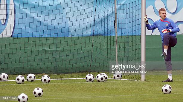 Russian goalkeeper Igor Akinfeev warms up during a training session in Leogang Austria on June 6 2008 Russia is in the Euro 2008 football...
