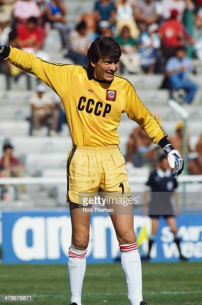 Russian goalkeeper Rinat Dasayev playing for the Soviet Union against Belgium in a Round of 16 match at the FIFA World Cup at Estadio Nou Camp Leon...