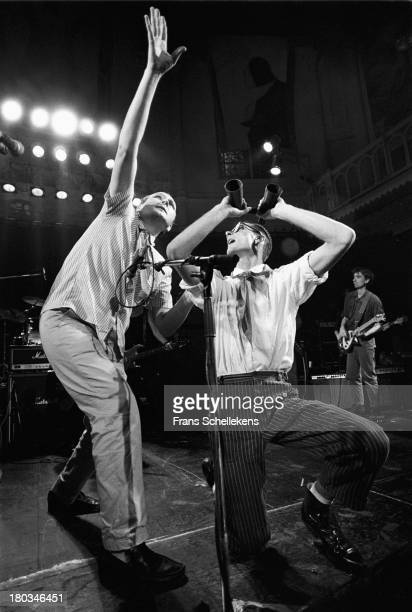 Russian group Pop Mechanica perform live on stage at the Paradiso in Amsterdam, Netherlands on 14th September 1989.