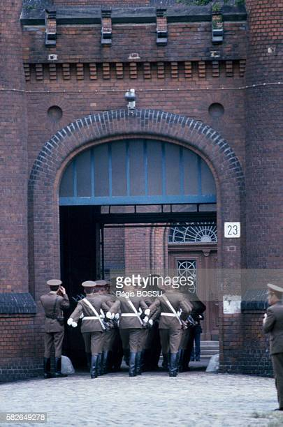 Russian guards march into Spandau prison where Rudolf Hess former Nazi Party head and aide to Adolf Hitler was interned for war crimes and remained...