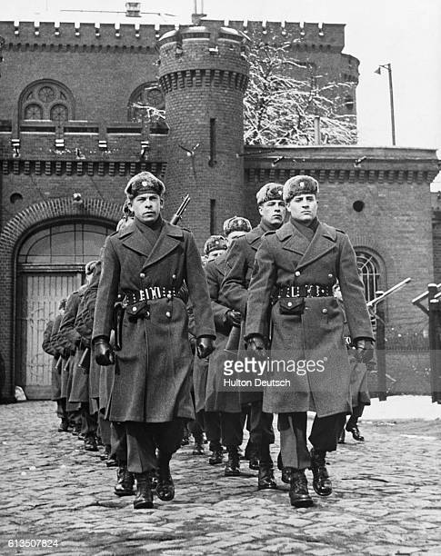 Russian guards on duty outside Spandau prison where Rudolf Hess Albert Speer and Baldur Von Shirach are held