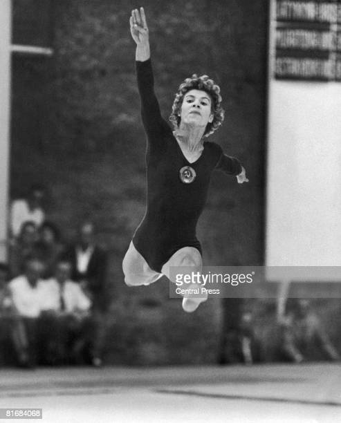 Russian gymnast Larissa Latynina competing in the free-standing gymnastics event at the gymnasium of the Baths of Caracalla, Rome, during the 1960...
