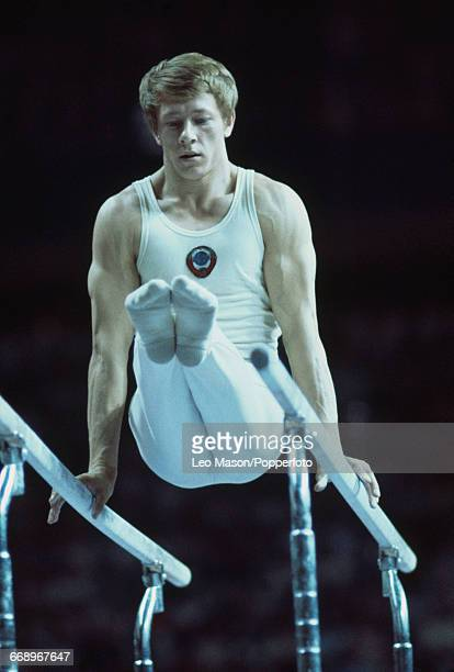 Russian gymnast Nikolai Andrianov pictured in action competing for the Soviet Union to finish in 2nd place to win the silver medal in the Men's...