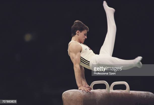 Russian gymnast Vladimir Artemov competing for the Soviet Union pictured in action on the pommel horse during competition to win the gold medal in...