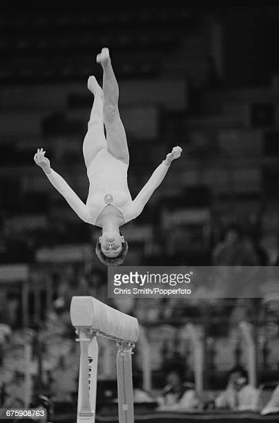 Russian gymnast Yelena Shushunova competing for the Soviet Union pictured in action on the balance beam during practice before competition to win the...