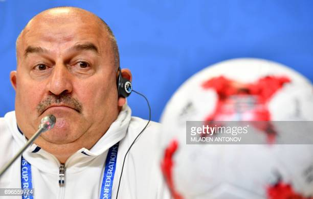 Russian Head Coach Stanislav Cherchesov gives a press conference, on June 16 on the eve of his team Confederation Cup opening match against New...