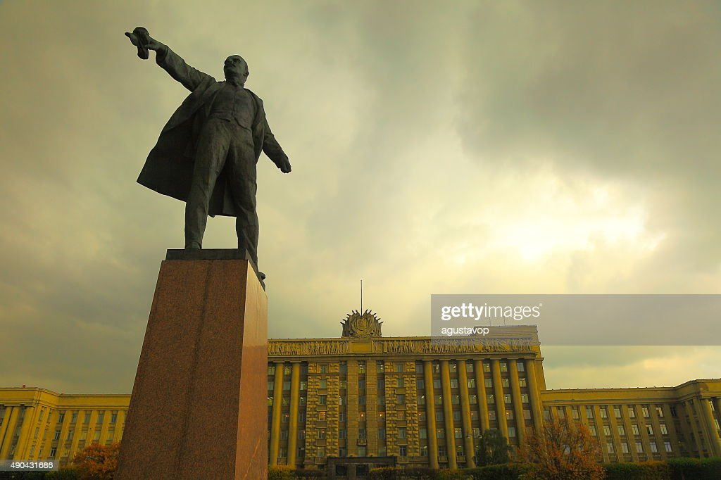 Russian House of Soviets, Lenin on Moscow Square. St. Petersburg : Stock Photo
