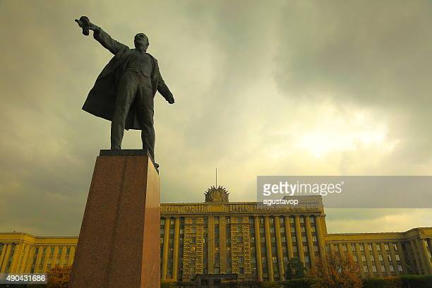 russian house of soviets, lenin on moscow square. st. petersburg - karl marx stock photos and pictures