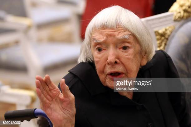 Russian Human Rights leading activist Helsinki Watch Group member Lyudmila Alexeyeva attends an awarding cemeremony at the Kremlin in Moscow Russia...