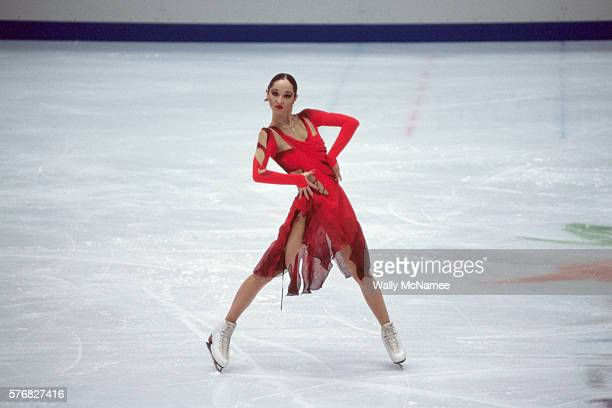 Russian ice dancer Anjelika Krylova performs a free dance program in White Ring during the 1998 Winter Olympics