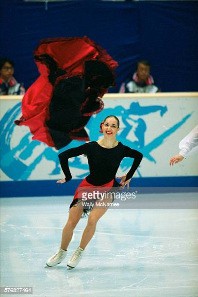 Russian ice dancer Anjelika Krylova performs at a skating exhibition in White Ring during the 1998 Winter Olympics Krylova and Ovsyannikov won the...