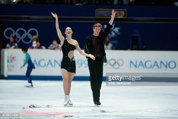Russian ice dancers Anjelika Krylova and Oleg Ovsyannikov finish their original dance program in White Ring during the 1998 Winter Olympics
