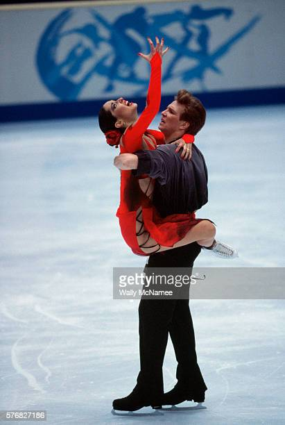 Russian ice dancers Anjelika Krylova and Oleg Ovsyannikov perform their free dance program in White Ring during the 1998 Winter Olympics