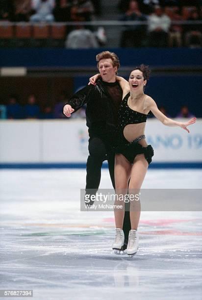 Russian ice dancers Anjelika Krylova and Oleg Ovsyannikov perform their original dance program in White Ring during the 1998 Winter Olympics