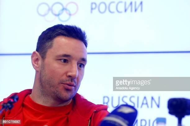Russian ice hockey player Ilya Kovalchuk gives a news conference following a session of the Russian Olympic Committee to discuss the IOC decision to...