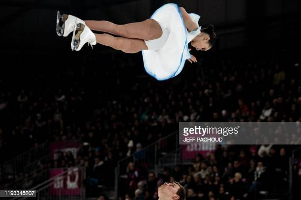 Russian ice skaters Apollinariia Panfilova and Dmitry Rylov compete to win during the Pair Skating event of the Lausanne 2020 Winter Youth Olympic...