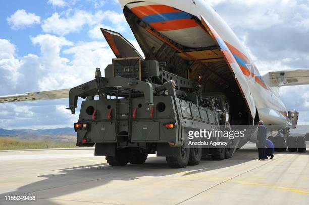 Russian Ilyushin Il-76, carrying the first batch of equipment of S-400 missile defense system, arrives at Murted Air Base in Ankara, Turkey on July...