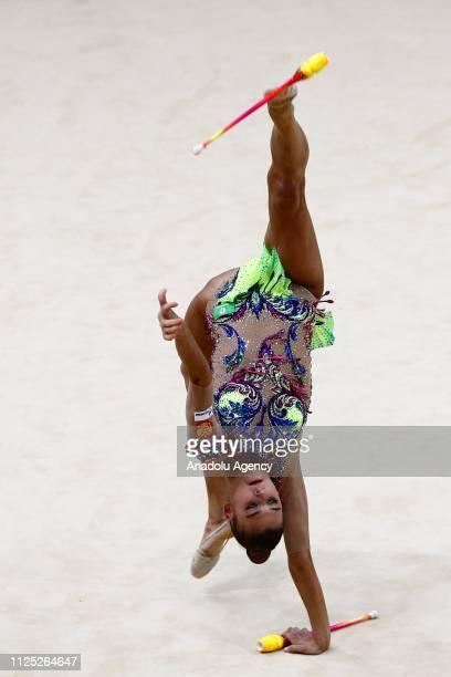 Russian individual rhythmic gymnast Aleksandra Soldatova performs during the 2019 Alina Kabaeva Gazprom Champions Cup at Moscow's Luzhniki Sports...