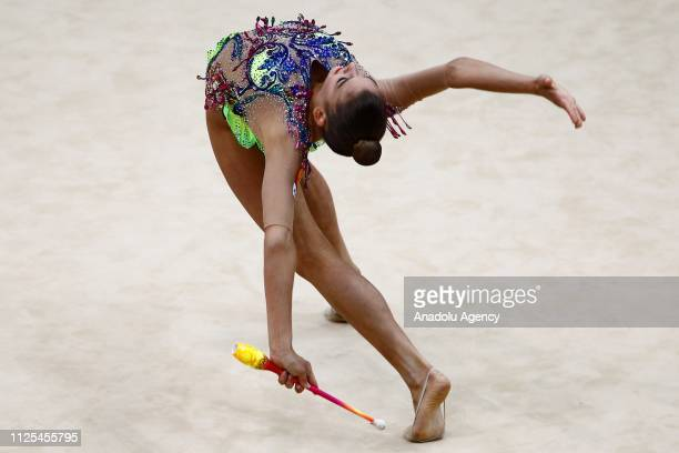Russian individual rhythmic gymnast Aleksandra Soldatova performs final during the Rhythmic Gymnastics GrandPrix Moscow 2019 at Moscow's Luzhniki...