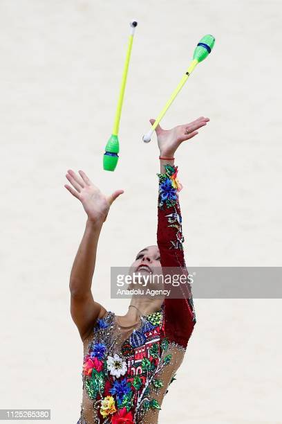 Russian individual rhythmic gymnast Arina Averina performs during the 2019 Alina Kabaeva Gazprom Champions Cup at Moscow's Luzhniki Sports Complex in...