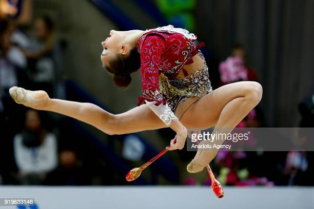 Russian individual rhythmic gymnast Arina Averina performs during the 2018 Moscow Rhythmic Gymnastics Grand Prix GAZPROM Cup in Moscow on February 17...