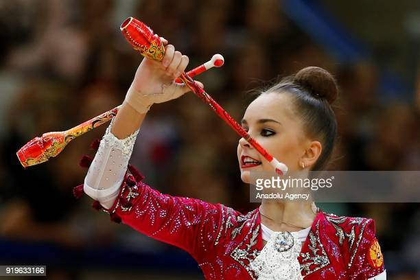 Russian individual rhythmic gymnast Arina Averina performs during the 2018 Moscow Rhythmic Gymnastics Grand Prix GAZPROM Cup in Moscow on February...