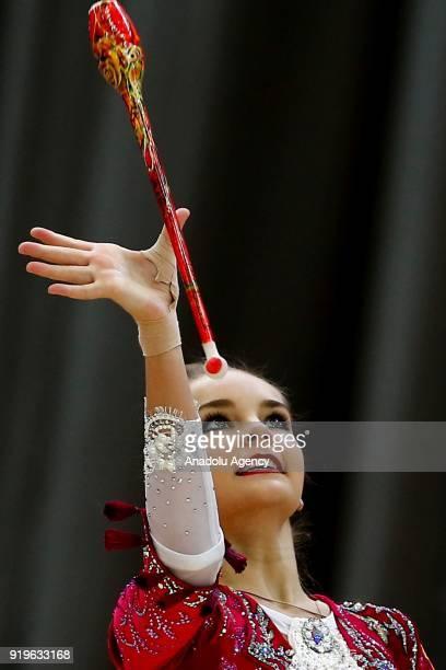 Russian individual rhythmic gymnast Arina Averina performs during the 2018 Moscow Rhythmic Gymnastics Grand Prix GAZPROM Cup in Moscow on February 17...