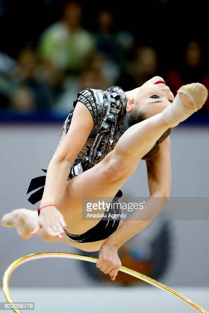 Russian individual rhythmic gymnast Arina Averina performs during the 2018 Moscow Rhythmic Gymnastics Grand Prix GAZPROM Cup in Moscow Russia on...