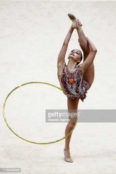 Russian individual rhythmic gymnast Arina Averina performs final during the Rhythmic Gymnastics GrandPrix Moscow 2019 at Moscow's Luzhniki Sports...