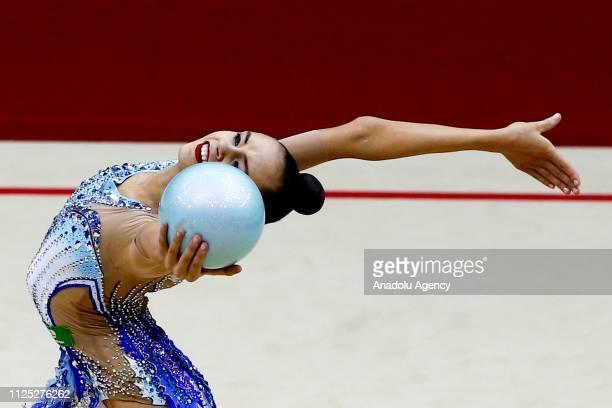 Russian individual rhythmic gymnast Daria Trubnikova performs during the 2019 Alina Kabaeva Gazprom Champions Cup at Moscow's Luzhniki Sports Complex...